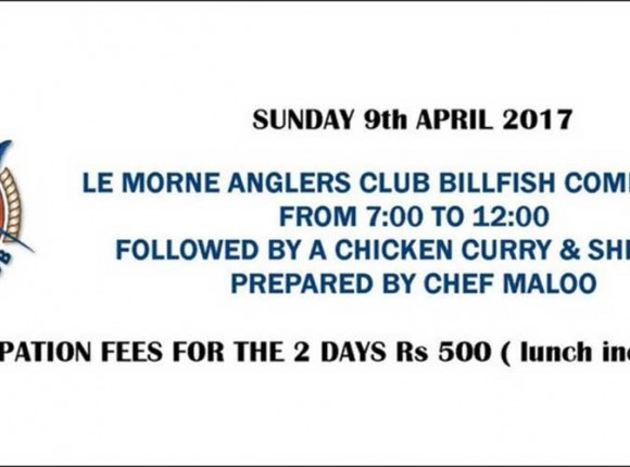 The Morne Anglers' Club Deep Sea Fishing Competition Sunday 9th April 2017