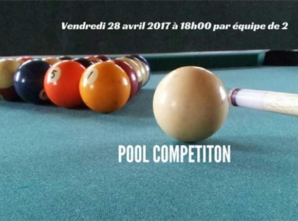 Pool Competiton vendredi 28 avril à 18h00 inscriptions par 2 obligatoires à l'avance