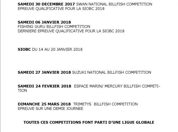 Calendrier des compétitions 2017/2018